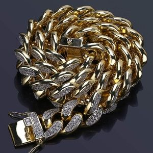 Other - 22in 18mm 18K Gold Plated Iced Out Chain Miami